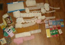 Large lot vintage Sewing Notions, Crochet Trim, Lace, Rick Rack, Thimbles, etc