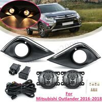 Front Fog Light Lamp w/ Switch Cover Kit For Mitsubishi Outlander 2016-2018 2019