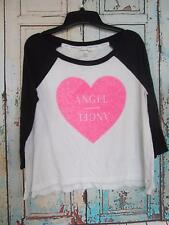 Womans XS  Victoria's Secret, White with Black 3/4 Sleeve Arms, T-Shirt, Heart,
