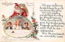 SANTA IN RED, TOYS, 3 CHILDREN WRITE TO HIM, HUYLER'S CANDIES ADV PC c. 1904-14
