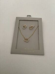 Oasis Necklace Brand New.earring And Necklace Gold And Diamanté  Design .RRP £20
