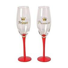 Set of 2 Champagne Flutes 'Prince & Princess' Wedding Anniversary Valentine Gift