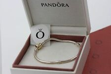 "Genuine Pandora Silver Bracelet & 14k Gold Clasp 9.1"" 590702HG-23 with box shown"