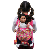 "Child's Backpack &Doll Carrier Sleeping Bag For 18"" American Girl Clothes Pink"