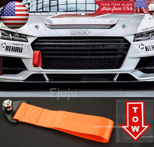 Orange Bumper Crash Beam Tow Hook Strap w/ Tow Arrow Sticker For Nissan Infiniti