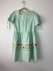 Dorissa Of Miami Vintage Girls Spring Dress Embroidered Floral Bee Tie Sleeve 10