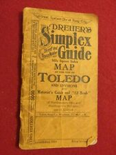1930-1931 Map of Toledo, NW Ohio & SW Michigan by Dreher's Simplex Guides;128pgs