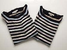 ELEGANT JOHN SEMDLEY TWINSET TWO PIECE SET STRIPED TOP CARDIGAN SIZE 10-12 VGC