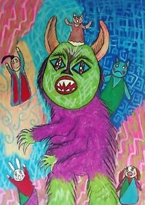 Oh No A Big Hairy Monster Outsider Pop Art Signed Giclee Print 11x14 by KSAMS