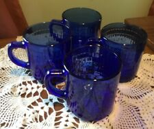 Made in Mexico ~ 7 SHINEY Glass Cobalt Blue  Coffee/Tea Mugs.