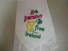 "Vintage ""A Present from Ireland"" Souvenir Hanky Handkerchief Lace Edge Unused"