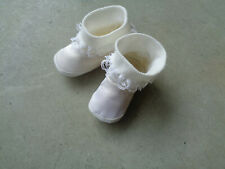 """Vtg Silk & Lace Baby Doll Booties Shoes 4"""" White 1960s Hong Kong Size 1 Infant"""