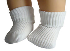 2 Pair White Ankle Socks Fold-Over made for Bitty Baby Twins Doll Clothes