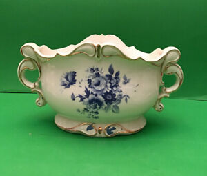 White & Blue Floral Farm House Chic Porcelian Vase/Dish With Handles Gold Trim