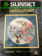 Vintage 1982 Sunset needlepoint hummingbirds and cherry blossoms kit