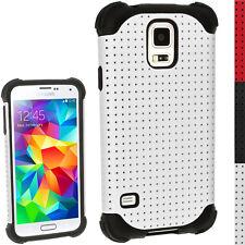 Nero Silicone Custodia Bianco Maglia per Samsung Galaxy S5 SV SM-G900 Gel Cover