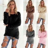 Damen Strickpullover Strickpulli Locker Longshirt Tunika Jumper Top Winter Warm
