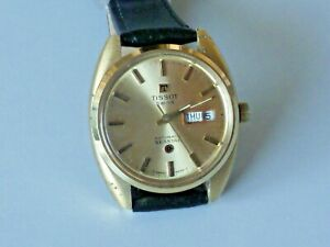 Mens gold plated Tissot Seastar automatic wristwatch with day and date