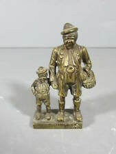 """Bronze Paperweight of German Man and His Son / 3 1/2"""" tall"""