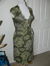 GREEN FLORAL STRETCH WRAP DRESS FROM MONSOON - SIZE 8 - SUMMER HOLIDAY