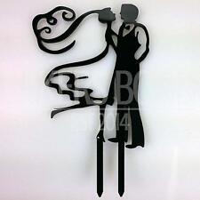 Esbozado Bride & Opaco Groom Acrílico Boda Cake Topper Silueta