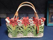 Flower Pattern REDfish Designs Rattan Purse / Hand Bag