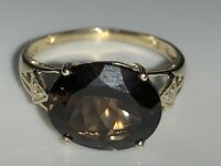 Stunning Vintage Solid 9ct Yellow Gold Solitaire Ring Smokey Quartz Diamond 2.1g