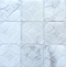 Carrara Marble 4x4 Circa Carved in Stone Tile Accent Backsplash Handmade Kitchen