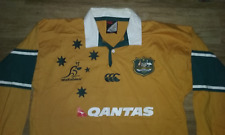WALLABIES AUSTRALIAN RUGBY UNION QANTAS EMBROIDERED POLO SHIRT SIZE LARGE NICE.!