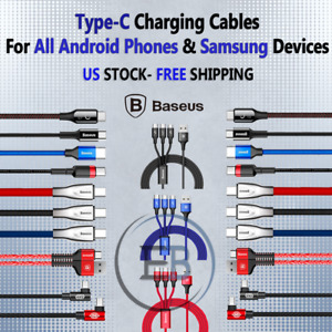 Type C USBC Cable 3FT/6FT/10FT For Samsung S8 Android lot Fast Charger BASEUS