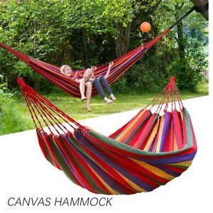 Portable Camping Hammock Canvas Cotton Rope Hiking Hanging Swin with Strap rope