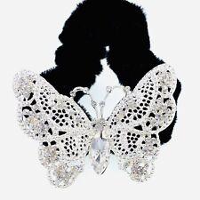 Butterfly Ponytail holder Elastic Rhinestone Crystal Hair Tie Rope Silver 1-3