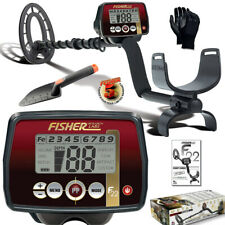 "Fisher F22 Weatherproof Metal Detector with 9"" Waterproof Coil, Gloves & Digger"