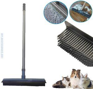"Rubber Brush Broom Squeegee Bristle Brush Extendable Handle 27-48"" Pet Hair"