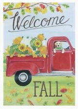 "New Rain Or Shine ""Welcome Fall� Red Truck Pumpkins Dog 12.5�x18� Flag #2416854"