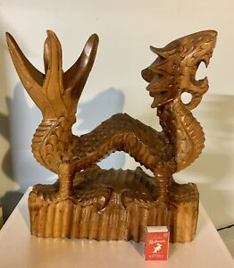 Vintage Hand Carved Wooden Dragon Asian Statue Protect Luck