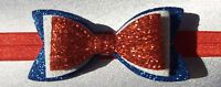 RED WHITE AND BLUE GLITTER 3 INCH HAIR BOW ELASTIC HEADBAND BABY GIRLS NEW