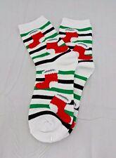Christmas socks red stockings white green black striped