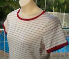Ladies White Top Maroon Pinstripe Ally Size 10 Top Condition Top Quality