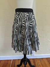 Womens Black and White Geometric Patterned Silk Skirt - size 4 - Anthropology