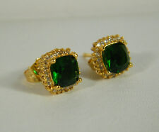 EARRINGS:  EXQUISITE 24K YELLOW GOLD FILLED GREEN EMERALD PRINCESS STUD 4+ CTS