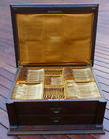 MINT French Christofle Marly Gold Flatware Service for Twelve (12) in Wood Chest