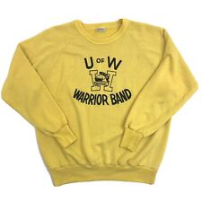 VINTAGE UNIVERSITY OF WATERLOO Warrior Band Longsleeve Sweatshirt Yellow Sz L