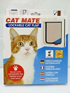 """Cat Mate Lockable Cat Flap White 304W 2 Way Locking OD 7"""" x 8"""" / ID 6"""" x 7"""" New"""