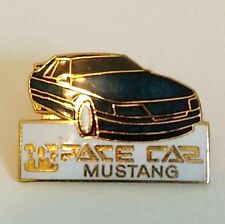 VINTAGE RACE CAR MUSTANG PIN PINBACK STRUTT YUR STUFF GOLD BLUE WHITE ENAMEL