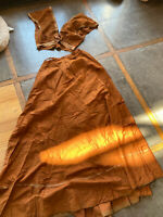 Antique Victorian Edwardian Silk Rust Long Skirt and Vest As For study
