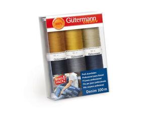 Gutermann Denim Thread Set 100m x 6 reels, Multicoloured 731144-1