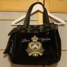 Juicy Couture Handbag Large Black Velour Satchel Purse with Logo design.