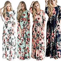 US Womens Floral Long Maxi Dress Long Sleeve Cocktail Party Tunic Beach Sundress