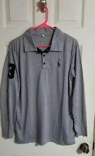 H2H Mens L Long Sleeve Gray Polo Golf Shirt
